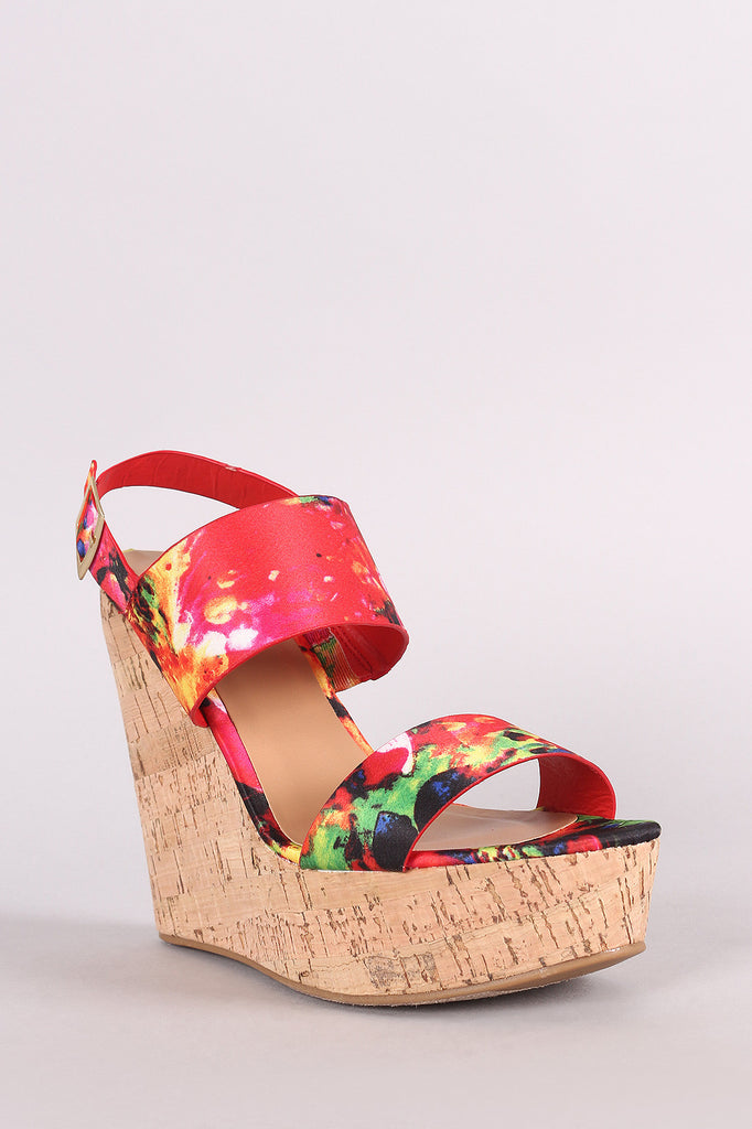 Bamboo Watercolor Print Double Band Platform Wedge - BLK+BLU