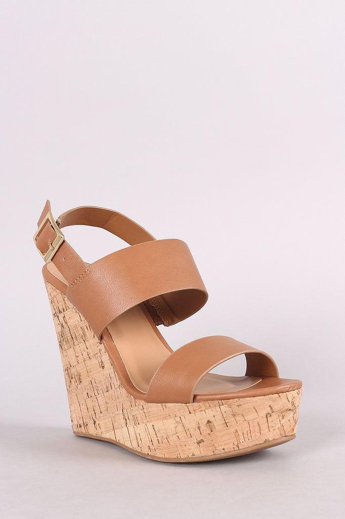 Bamboo Double Band Platform Wedge - BLK+BLU