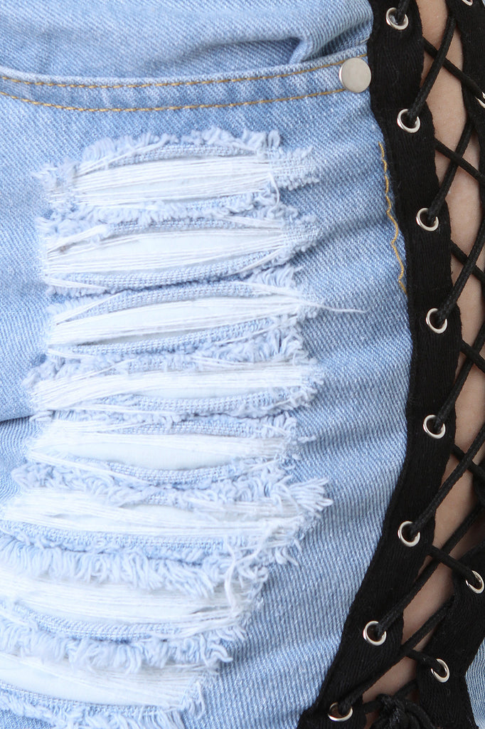 Sides Lace-Up High Waisted Denim Shorts - BLK+BLU
