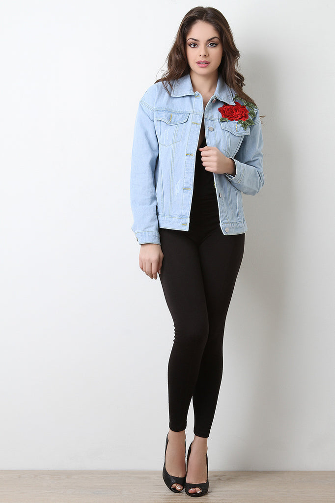 Floral Embroidery Patch Denim Jacket - BLK+BLU