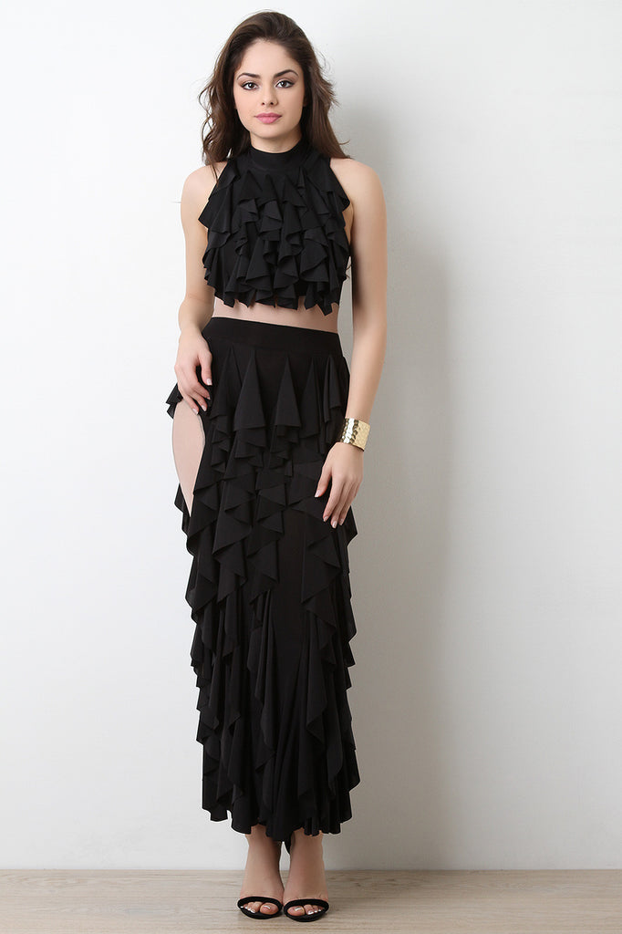 Semi-Sheer Mesh Tiered Ruffle Maxi Dress - BLK+BLU