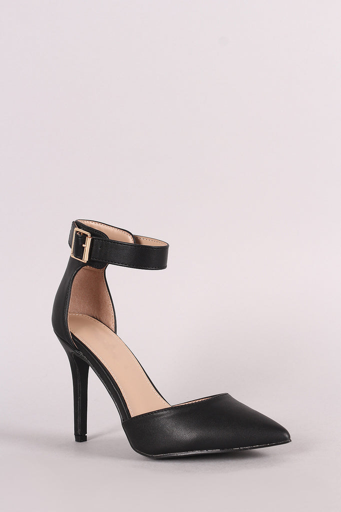 Breckelle Pointy Toe Ankle Strap Stiletto Pump - BLK+BLU