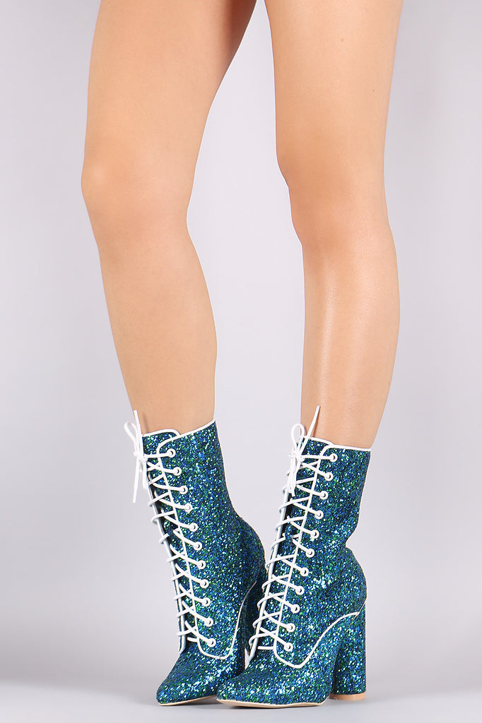 Glitter Encrusted Pointy Toe Lace Up Chunky Heeled Boots - BLK+BLU