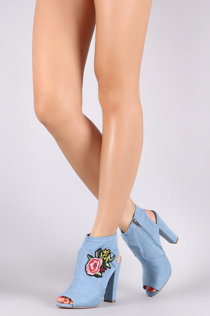 Delicious Denim Floral Patch Peep Toe Chunky Heeled Booties - BLK+BLU