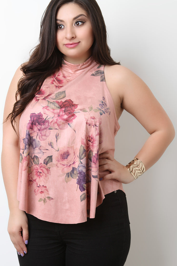 Vegan Suede Floral Sleeveless Top - BLK+BLU