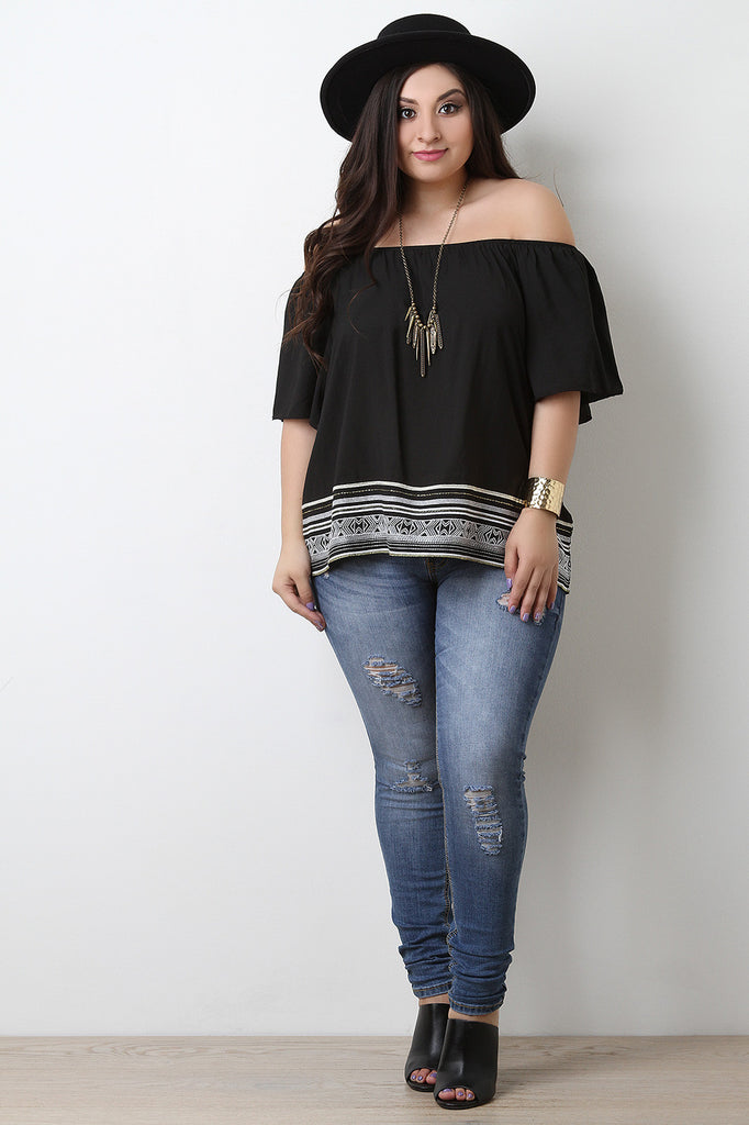 Embroidered Hem Off The Shoulder Top