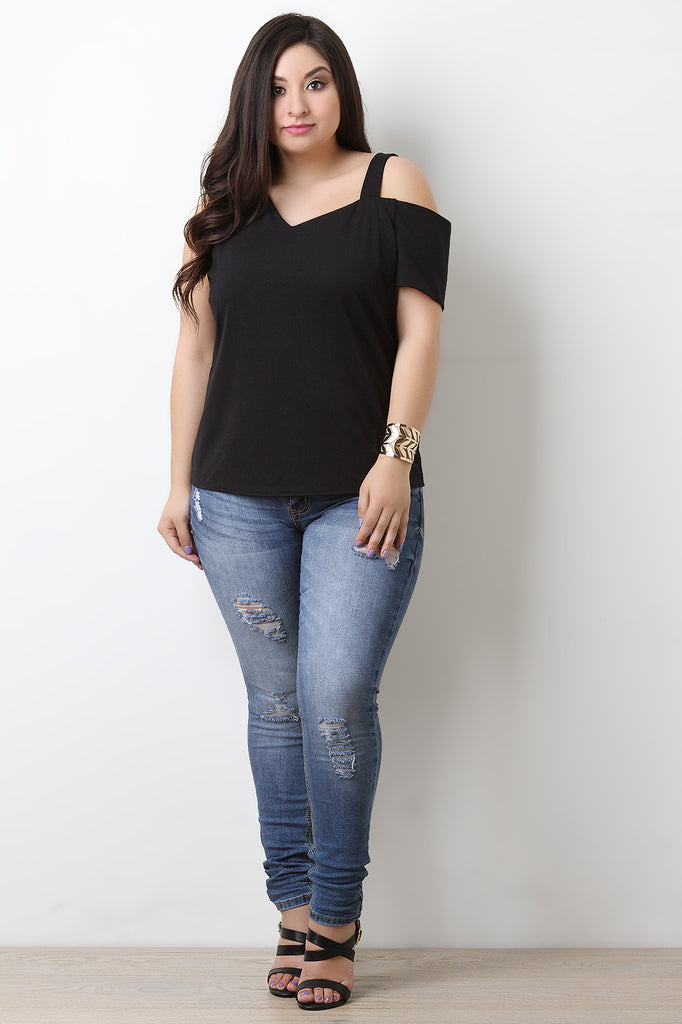 Asymmetrical Sleeve Stretchy Knit Top - BLK+BLU
