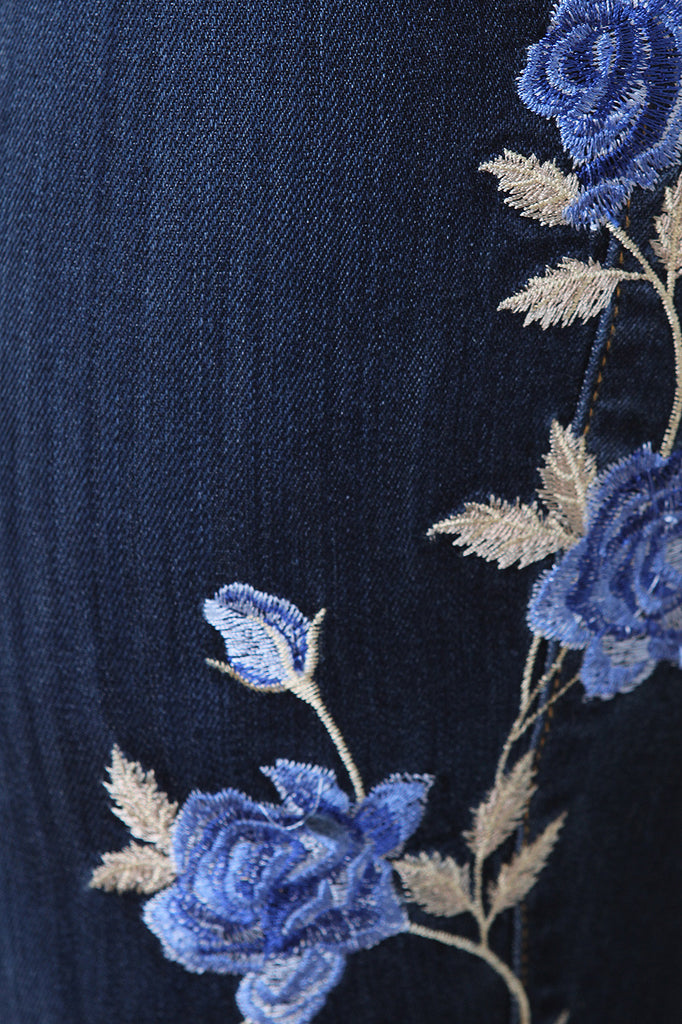 Floral Embroidery Distress Denim Jeans - BLK+BLU