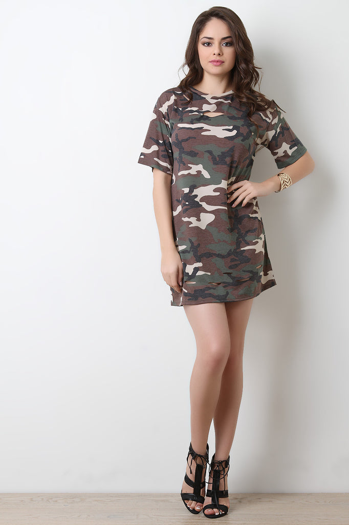 Camouflage T-Shirt Dress - BLK+BLU