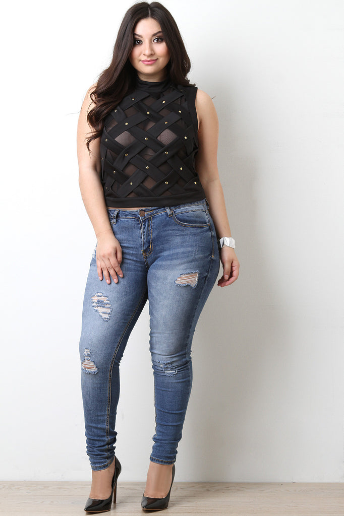 Lattice Mesh Sleeveless Top - BLK+BLU