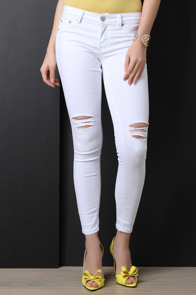 Low Rise Distress Knees Skinny Jeans