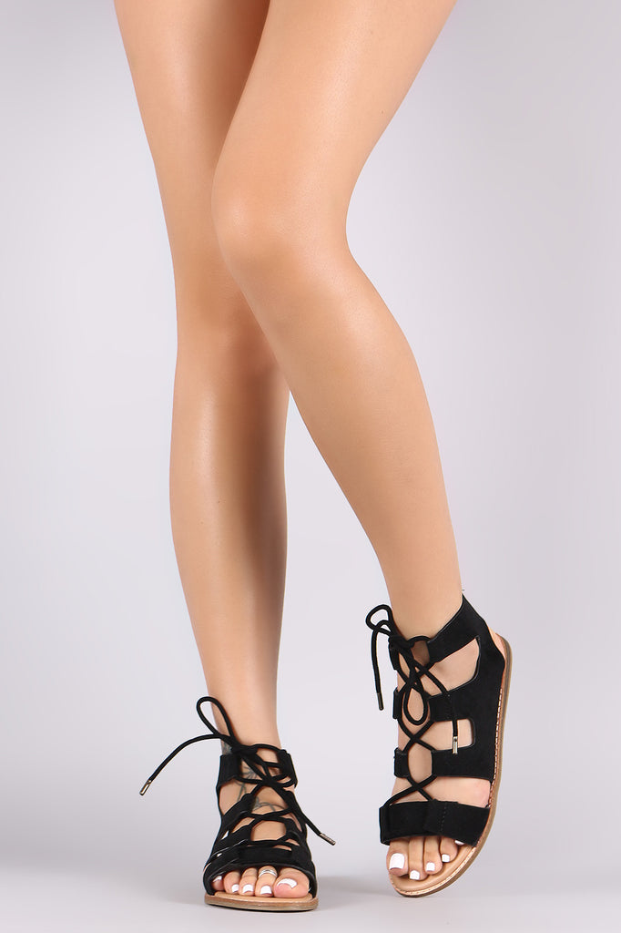 Bamboo Suede Lace Up Gladiator Flat Sandal - BLK+BLU