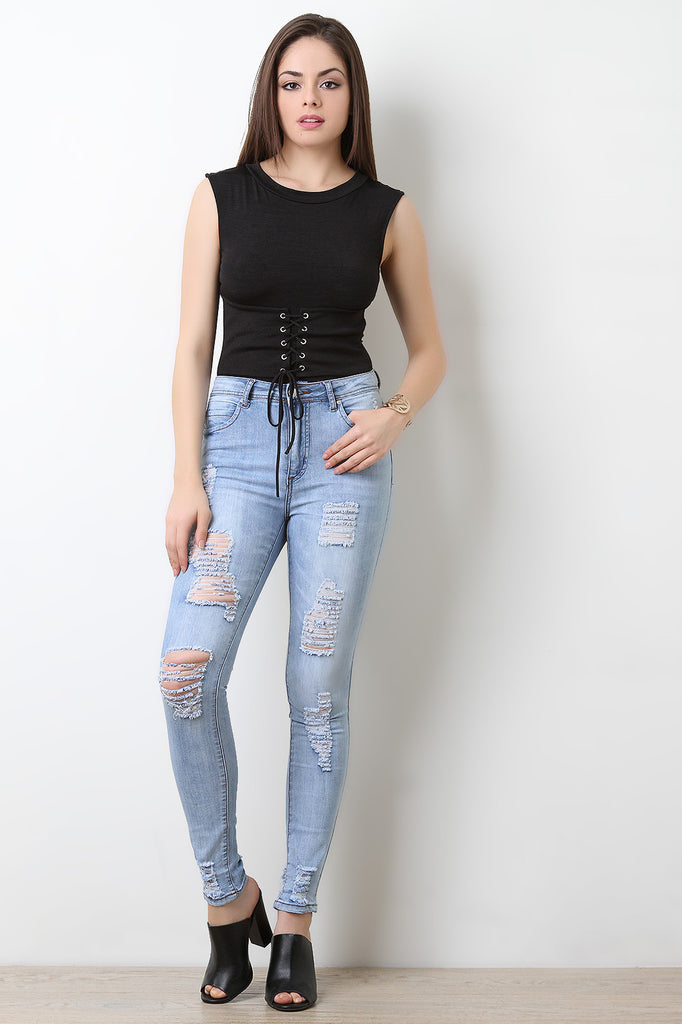 High Waisted Distressed Skinny Jeans - BLK+BLU