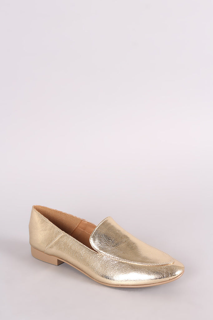 Qupid Metallic Slip-On Loafer Mules - BLK+BLU