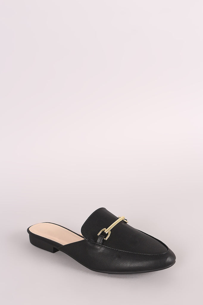 Qupid Horsebit Slip On Loafer Mules - BLK+BLU