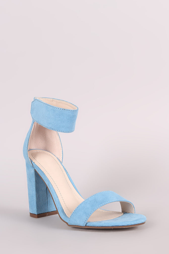Breckelle Suede Ankle Strap Chunky Heel - BLK+BLU