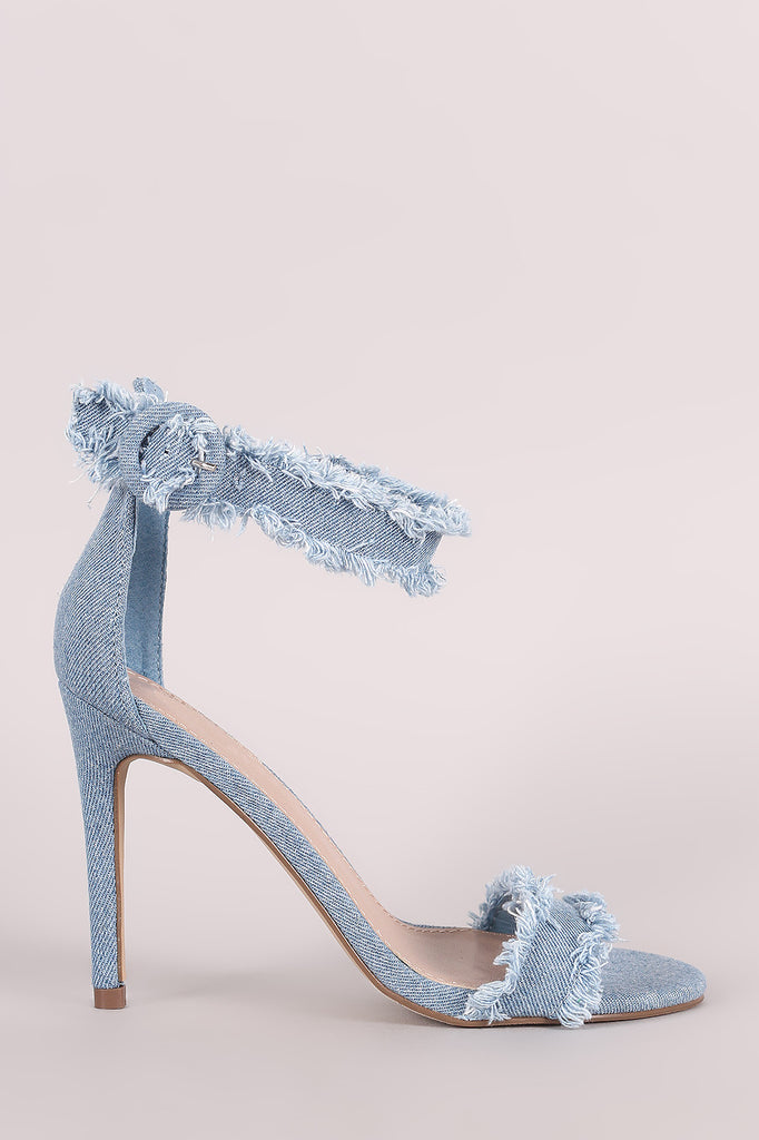 Breckelle Frayed Denim Open Toe Stiletto Heel - BLK+BLU