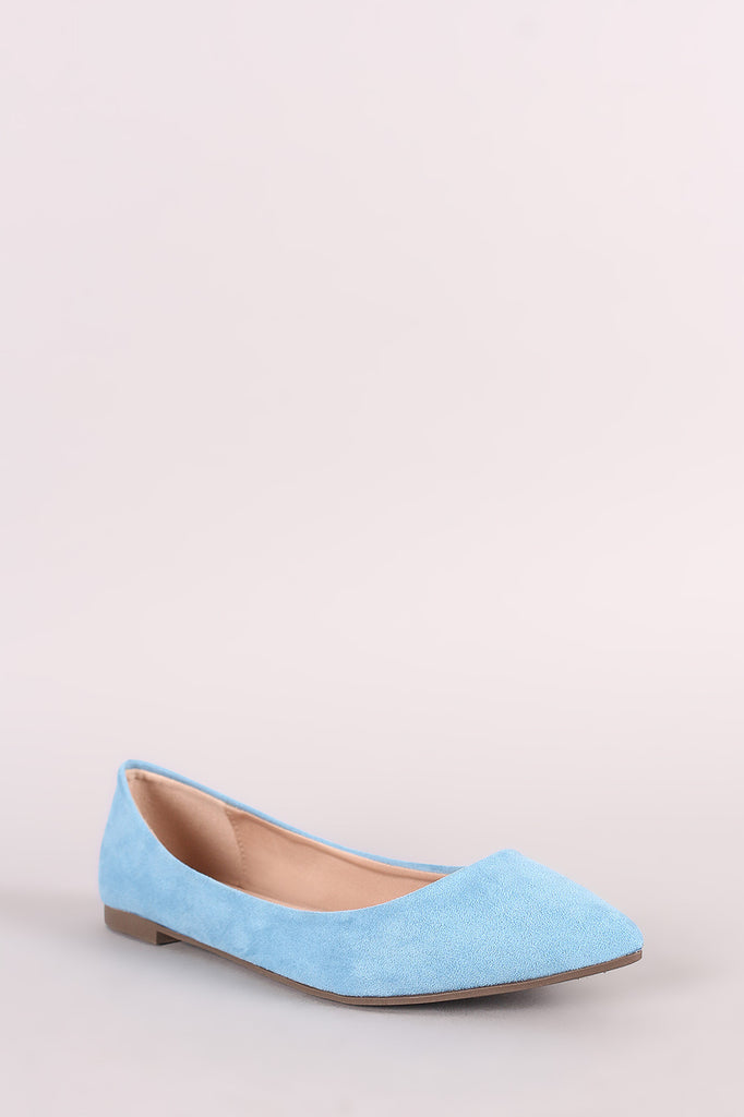 Breckelle Simple Vegan Suede Pointy Toe Flats - BLK+BLU
