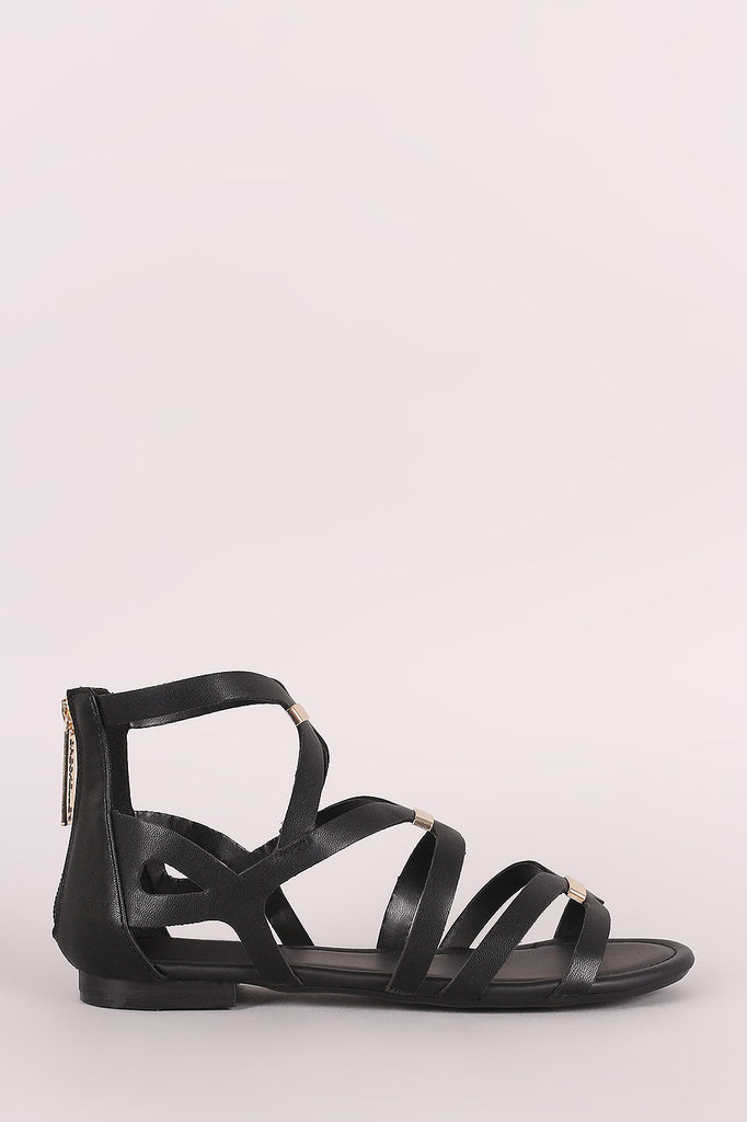 Breckelle Bar Accent Caged Open Toe Flat Sandal - BLK+BLU