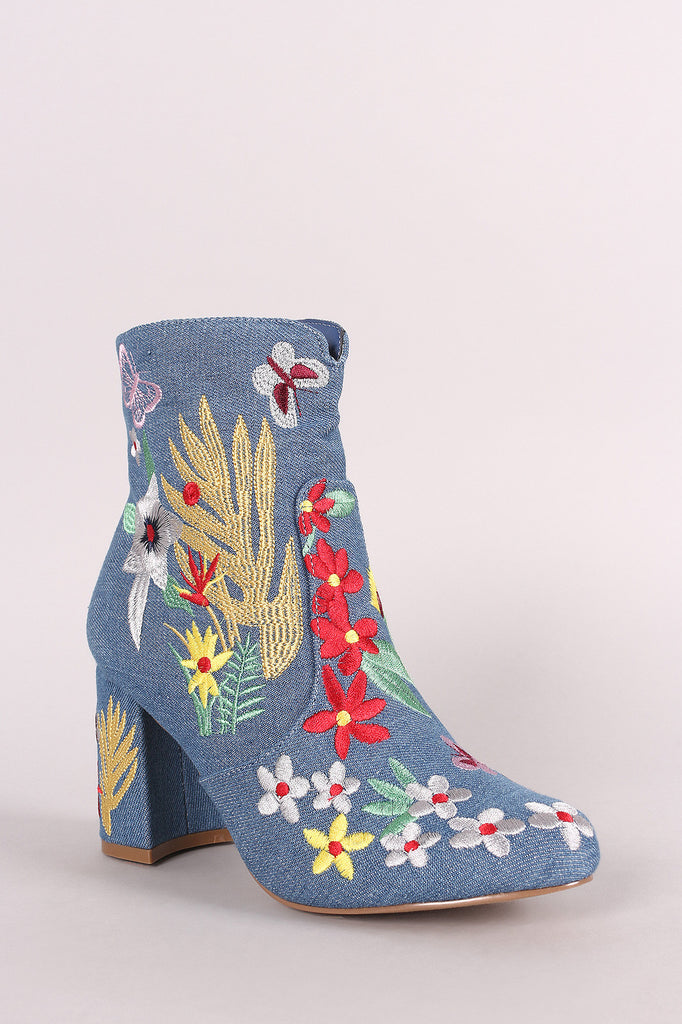 Shoe Republic LA Denim Embroidery Floral Chunky Heeled Booties - BLK+BLU