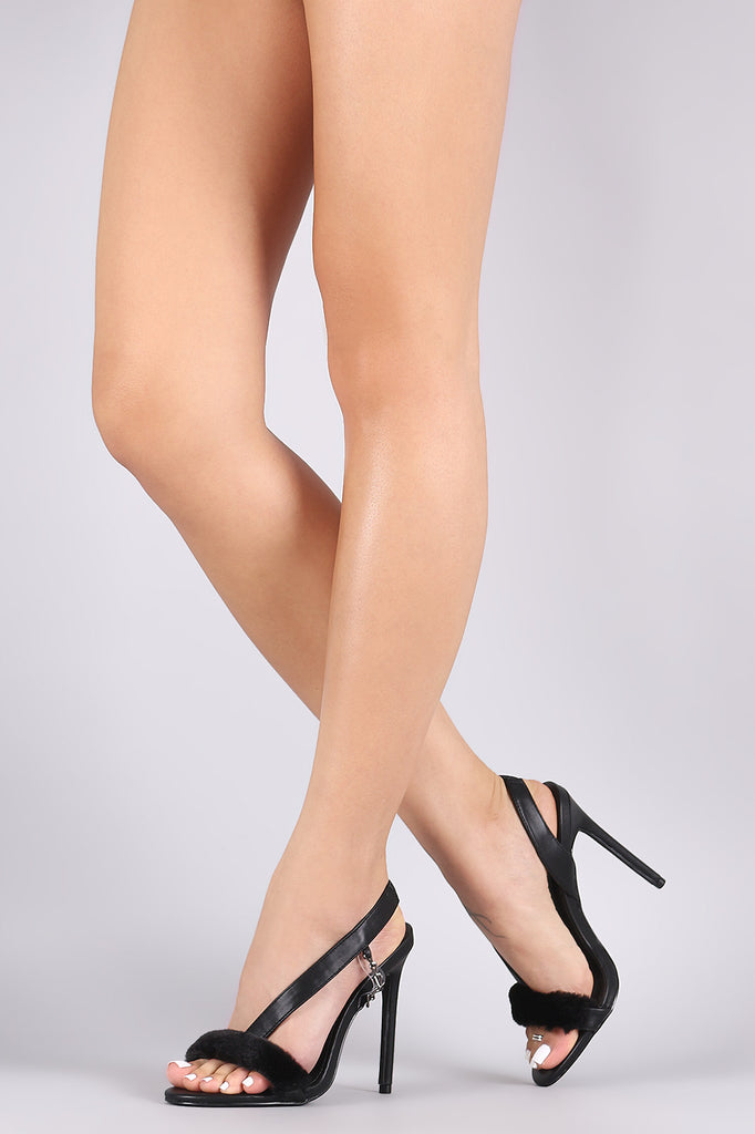 Faux Fur Trim Asymmetric Slingback Stiletto Heel - BLK+BLU