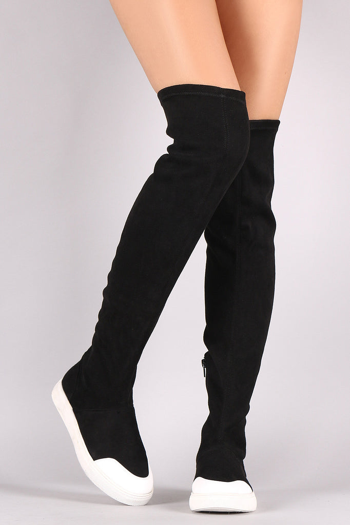 Wild Diva Lounge Suede Over-The-Knee Sneaker Boots - BLK+BLU