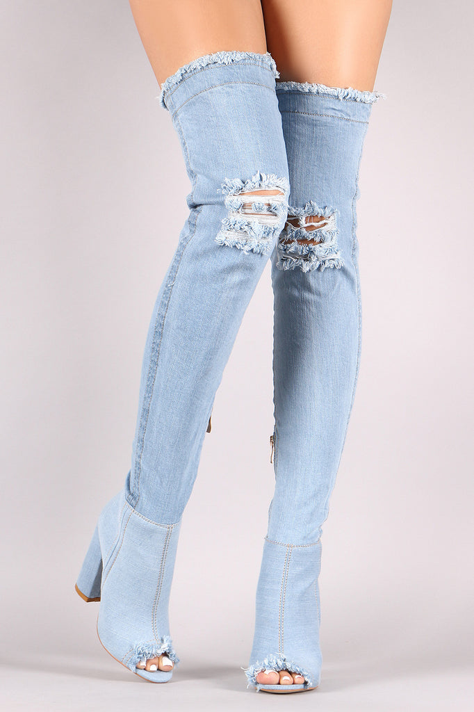 Distressed Denim Chunky Heeled Over-The-Knee Boots - BLK+BLU