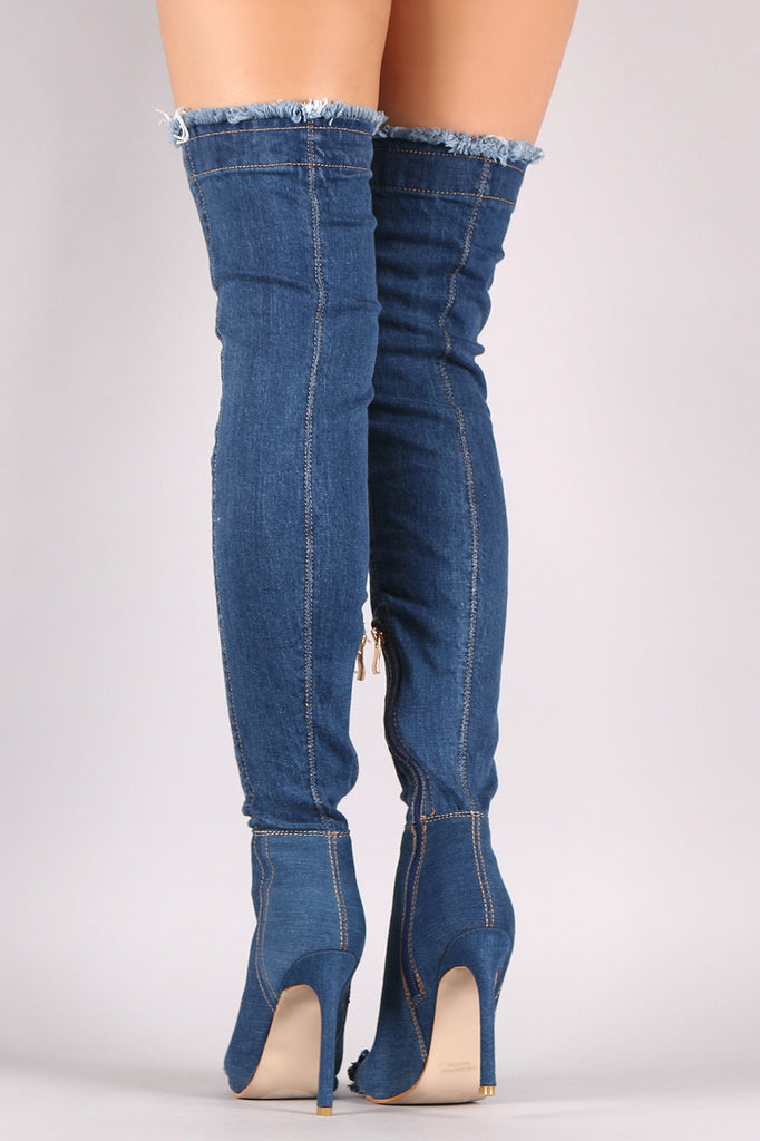 Distressed Denim Stiletto Over-The-Knee Boots - BLK+BLU