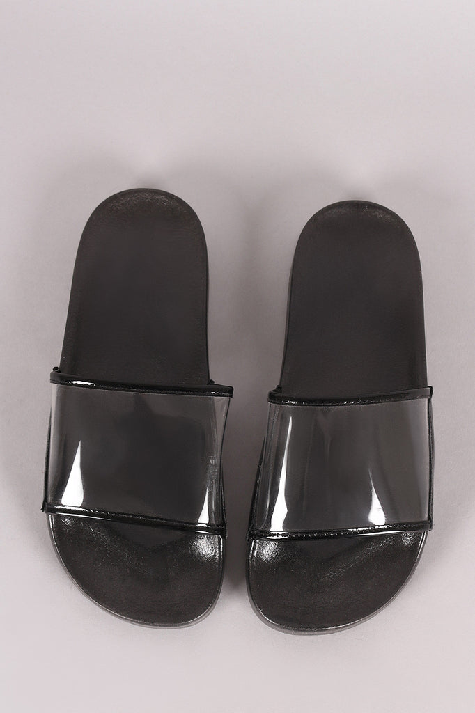 Lucite Band Open Toe Slide Sandal - BLK+BLU