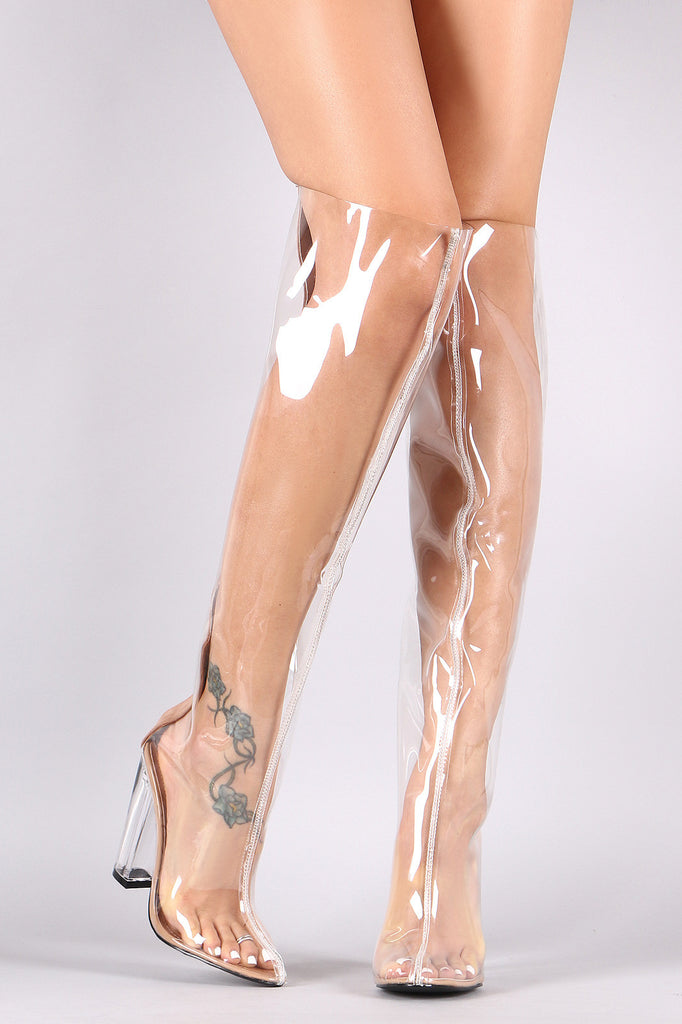 Almond Toe Transparent Lucite Heeled Over-The-Knee Boots - BLK+BLU