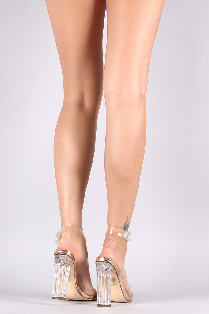 Transparent Ankle Strap Chunky Lucite Heel