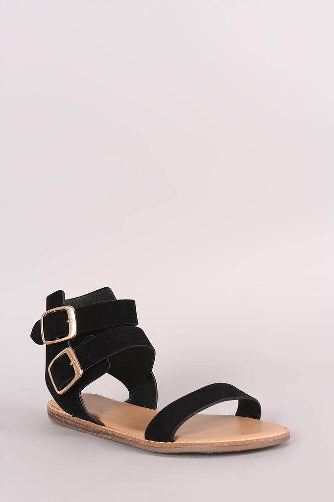 Bamboo Suede Double Buckled Ankle Strap Flat Sandal - BLK+BLU