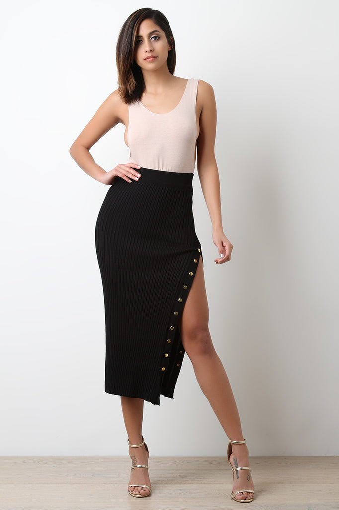 High Waisted Ribbed Knit Button-Up Midi Skirt - BLK+BLU