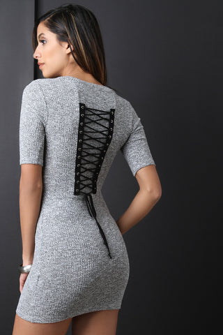 Marled Ribbed Knit Corset Back Mini Dress - BLK+BLU