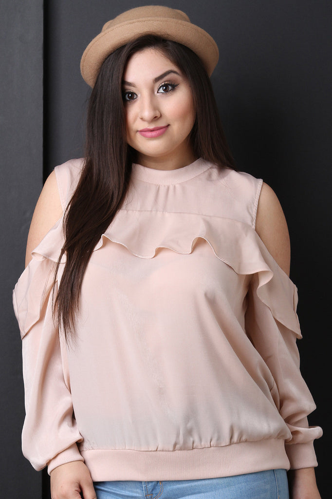 Satin Cold Shoulder Ruffle Accent Top