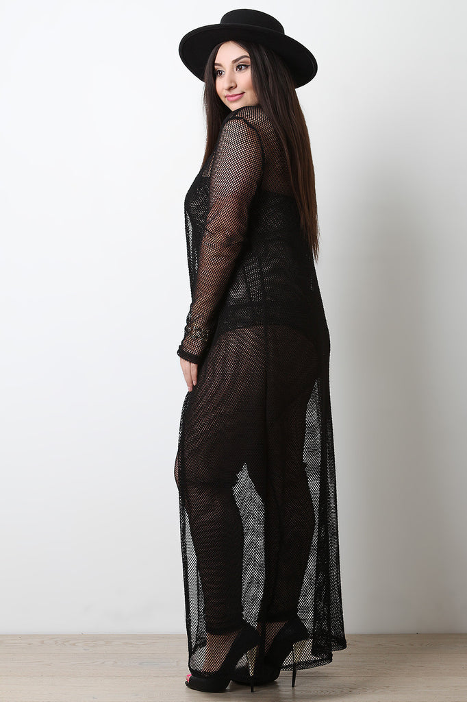 Fishnet Open Mesh Long Line Cardigan - BLK+BLU