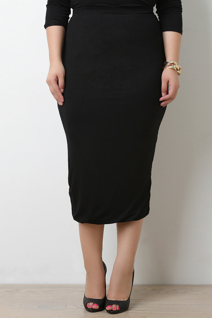 Simple High Waisted Stretchy Midi Pencil Skirt - BLK+BLU
