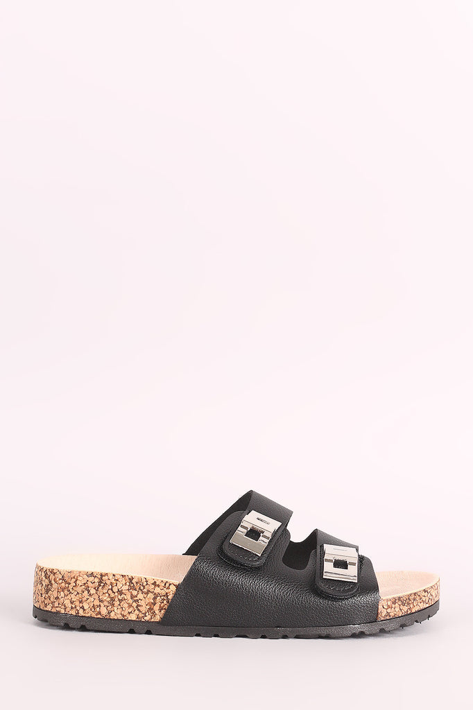 Qupid Buckle Accent Double-Band Footbed Sandal - BLK+BLU
