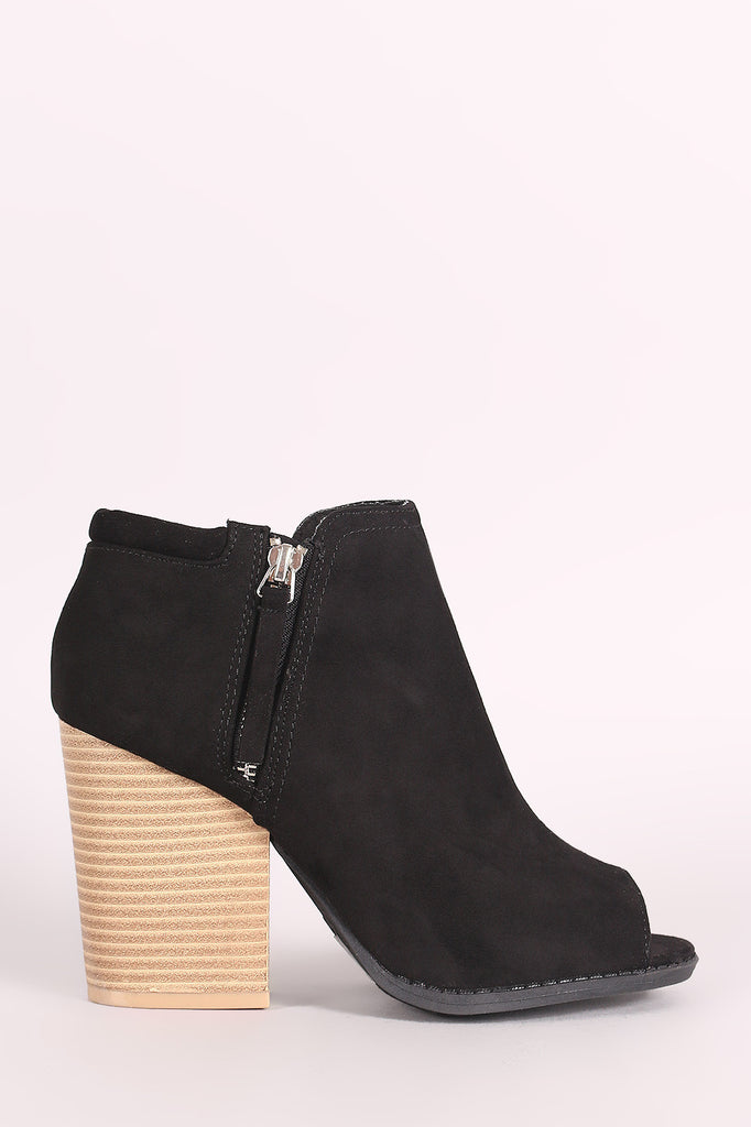 Qupid Suede Zip-Up Chunky Heeled Ankle Boots - BLK+BLU