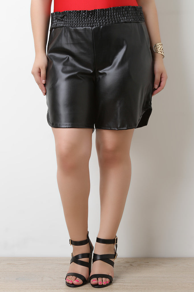Smooth Vegan Leather High Waist Shorts - BLK+BLU