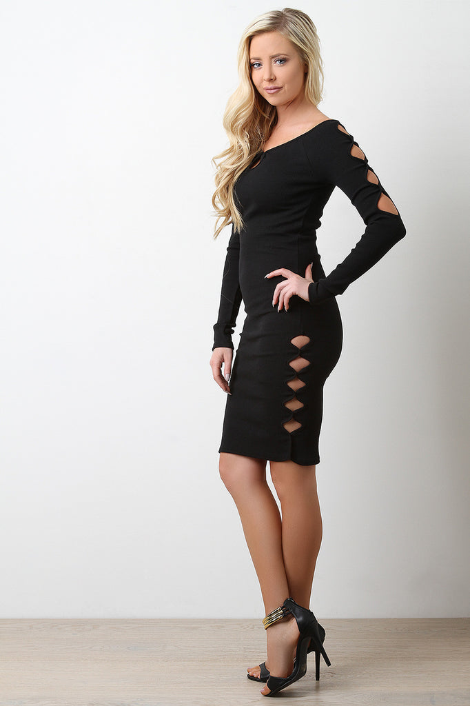 Keyholes Ribbed Knit Bodycon Dress - BLK+BLU