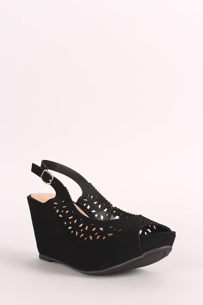 Bamboo Nubuck Perforated Peep Toe Slingback Platform Wedge - BLK+BLU