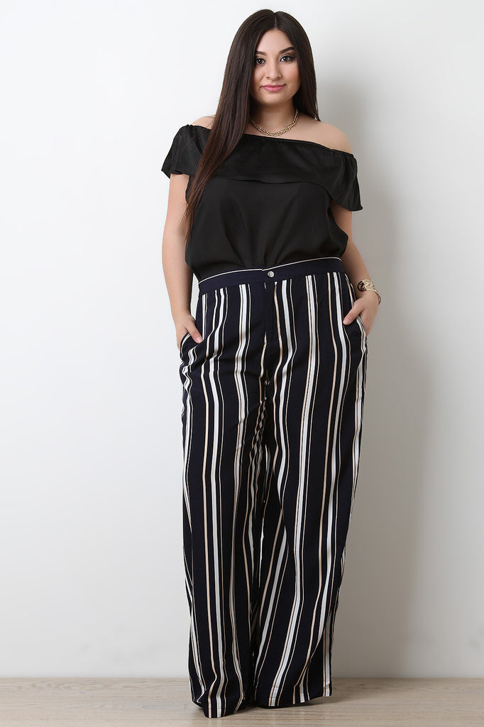 Striped High Waisted Wide Leg Pants - BLK+BLU
