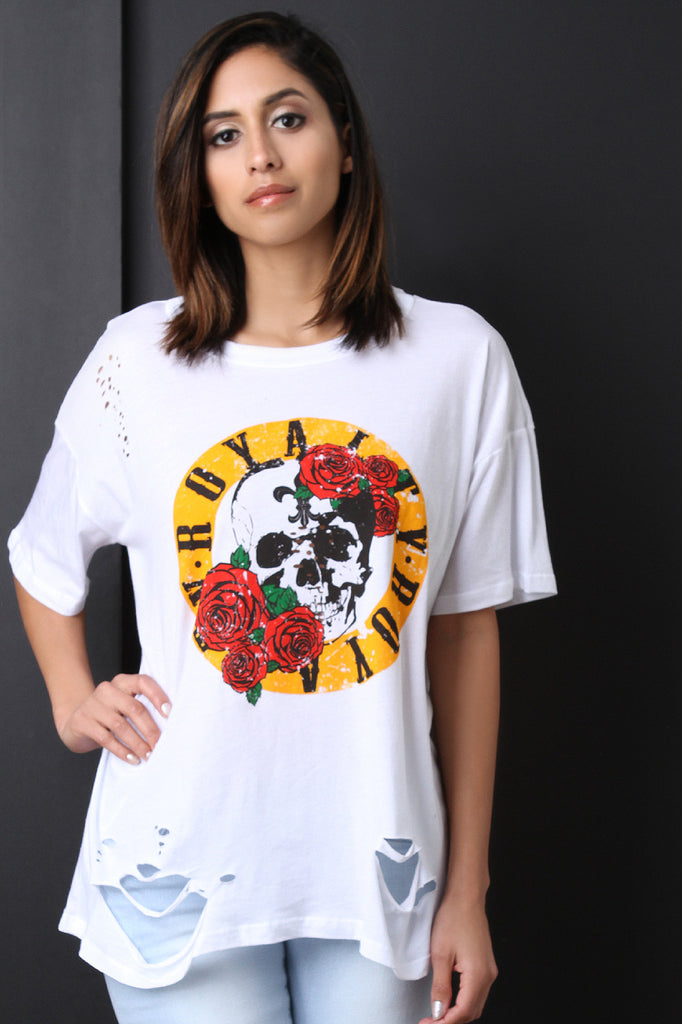 Skull Roses Graphic Print Distressed Top - BLK+BLU