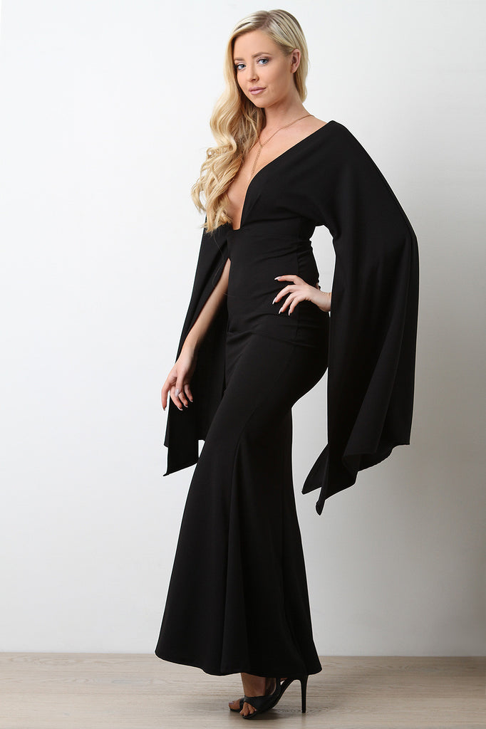 Plunging Neck Open Sleeve Mermaid Maxi Dress - BLK+BLU