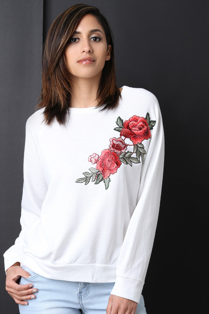 Embroidered Rosette Patch Sweatshirt - BLK+BLU