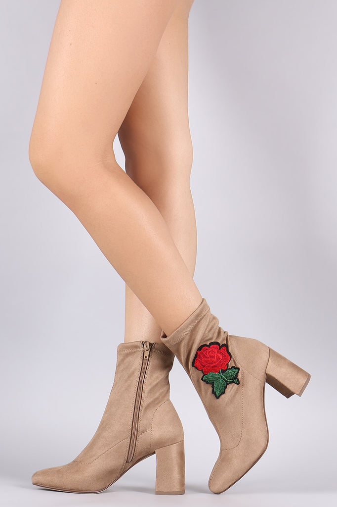 Delicious Embroidered Rosette Suede Chunky Heeled Booties - BLK+BLU