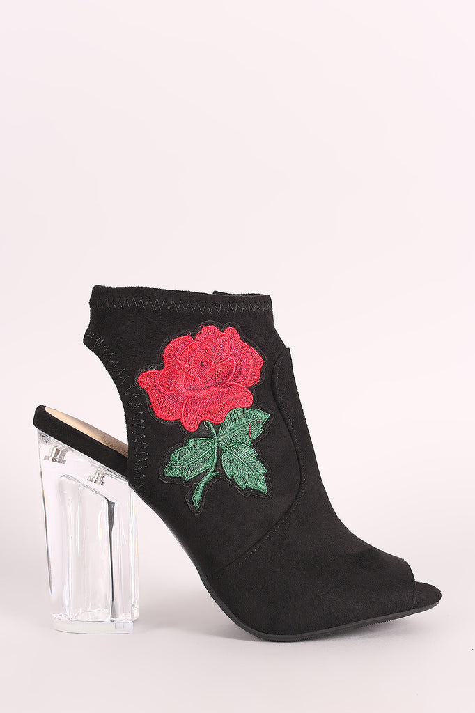 Suede Embroidered Rosette Chunky Perspex Heeled Mule Booties - BLK+BLU