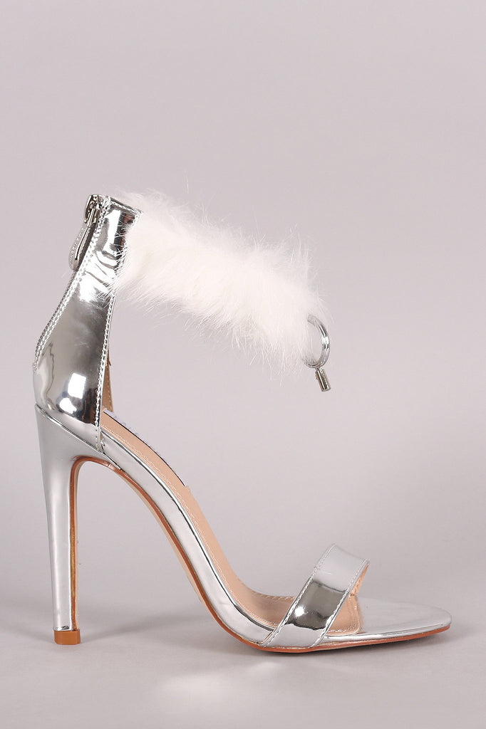 Mirror Metallic Faux Fur Cuff Stiletto Heel