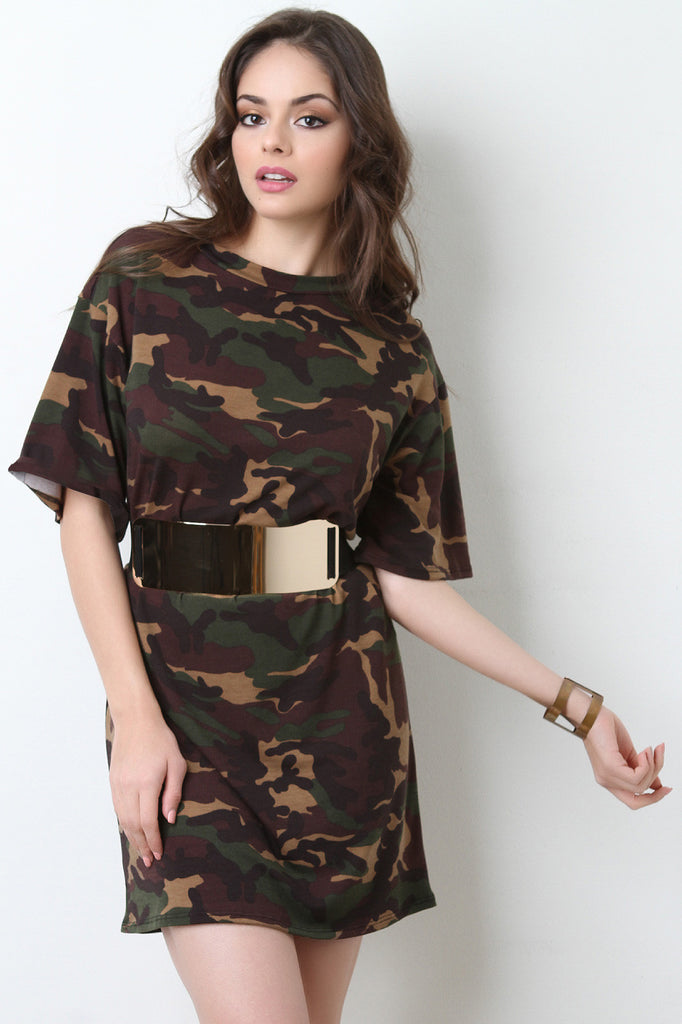 Belted Camouflage T-shirt Dress - BLK+BLU